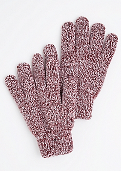 Burgundy Marled Knit Gloves