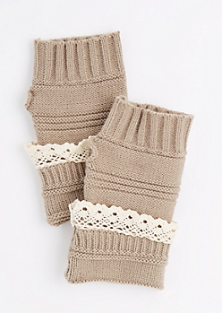 Tan Crochet Ruffle Knit Fingerless Gloves