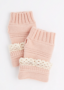 Pink Crochet Ruffle Knit Fingerless Gloves