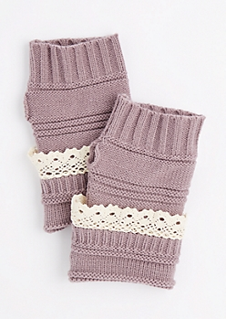 Violet Crochet Ruffle Knit Fingerless Gloves