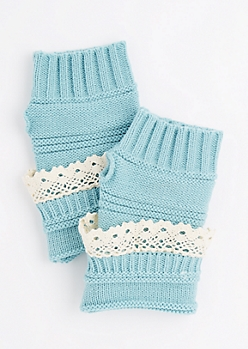 Turquoise Crochet Ruffle Knit Fingerless Gloves