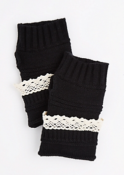 Black Crochet Ruffle Knit Fingerless Gloves