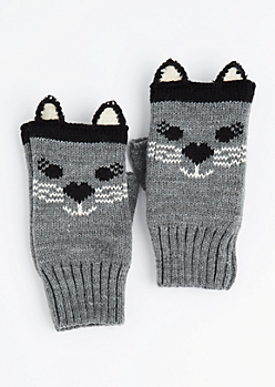 Cat Fingerless Gloves