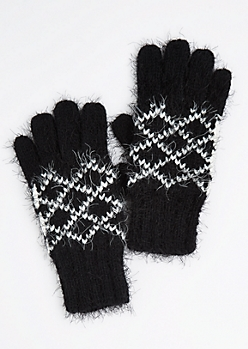 Black Diamond Eyelash Knit Gloves