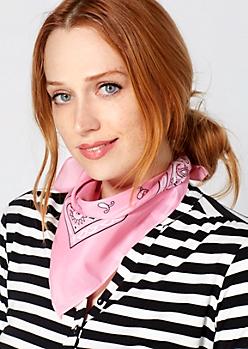Light Pink Classic Paisley Bandana