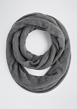 Gray Cozy Knit Infinity Scarf