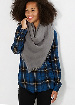 Gray Woven Blanket Scarf