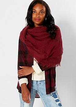 Burgundy Woven Blanket Scarf