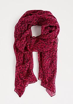 Fuchsia Leopard Print Fashion Scarf