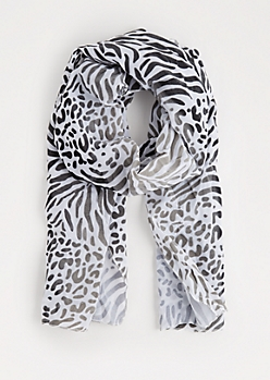 Mixed Animal Print Chiffon Scarf