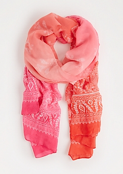 Pink Paisley Ombre Fashion Scarf