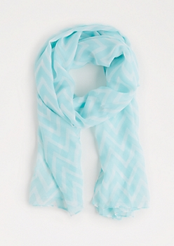 Light Blue Chevron Fashion Scarf