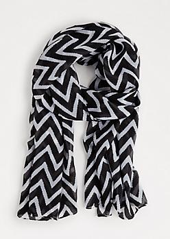 Black Chevron Fashion Scarf