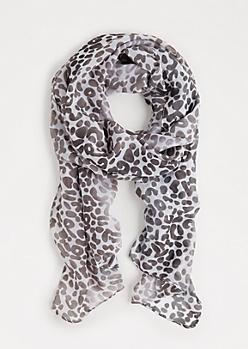 Gray Leopard Print Fashion Scarf