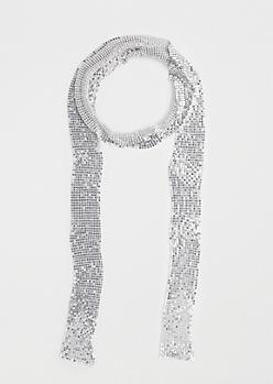 Silver Metallic Link Scarf