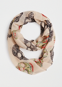 Floral Skulls Infinity Scarf