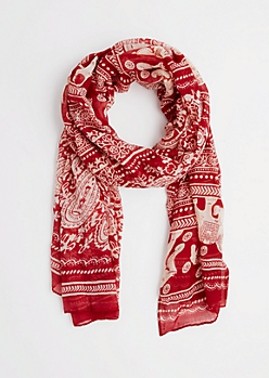 Red Boho Elephant Fashion Scarf