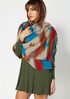 Teal Western Blanket Scarf