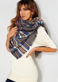 Nordic Gray Plaid Blanket Scarf