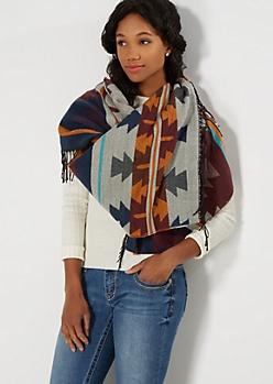 Burgundy Aztec Oblong Blanket Scarf