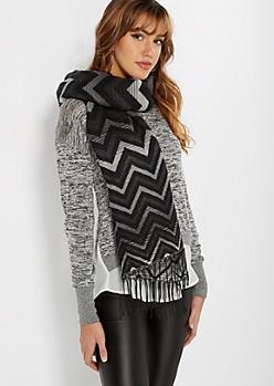 Black & Gray Chevron Blanket Scarf