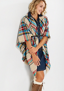 Frayed Plaid Blanket Scarf
