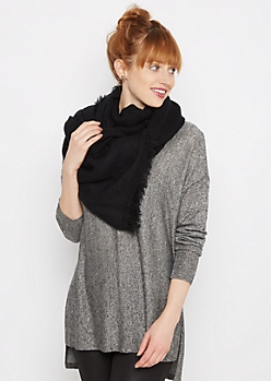 Black Frayed Chevron Oblong Scarf