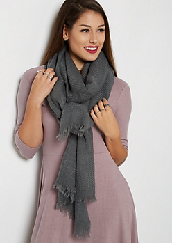 Gray Frayed Chevron Oblong Scarf