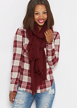 Burgundy Frayed Chevron Oblong Scarf