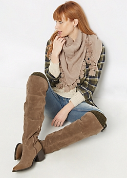 Taupe Multi Way Square Scarf