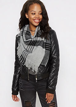 Gray Plaid Frayed Oblong Scarf