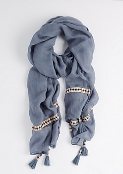 Blue Tribal Tape Tasseled Scarf