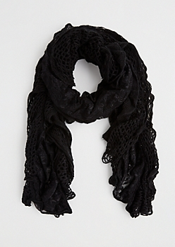 Black Ruffled Lace & Crochet Scarf