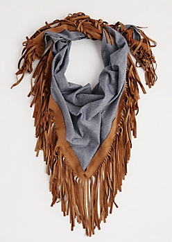 Chambray Fringed Scarf