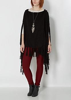 Black Hooded Nubby Knit Poncho