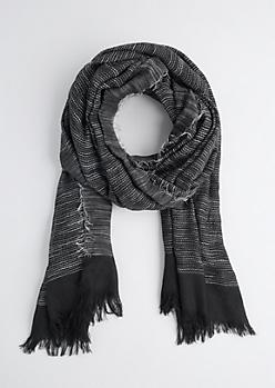 Black Frayed Blanket Scarf