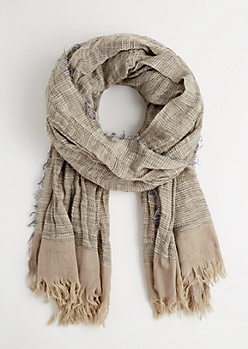 Taupe Frayed Blanket Scarf