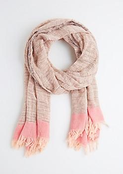 Soft Pink Frayed Blanket Scarf