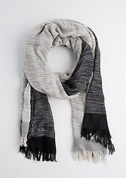 Black Color Split Frayed Blanket Scarf