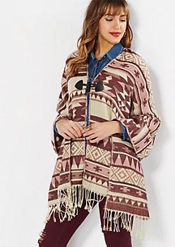 Burgundy Southwestern Blanket Scarf