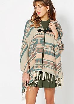 Teal Southwestern Blanket Scarf