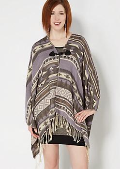 Purple Southwestern Blanket Scarf