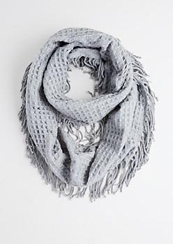 Gray Waffle Knit Infinity Scarf