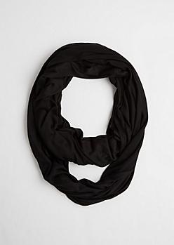 Black Raw Edge Knit Infinity Scarf
