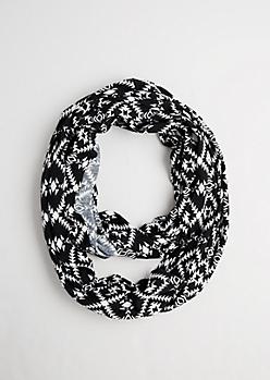 Black & White Aztec Infinity Scarf