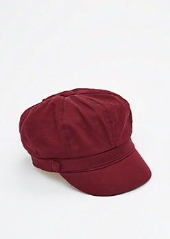 Burgundy Newsboy Cap