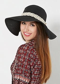 Black Crochet Bow Floppy Hat