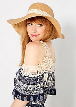 Tan Crochet Bow Floppy Hat