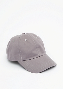 Gray Twill Baseball Hat