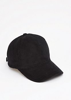 Black Curdoroy Baseball Hat